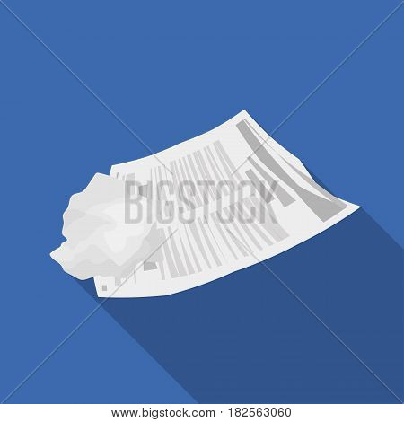Crumpled paper icon in flate style isolated on white background. Trash and garbage symbol vector illustration.