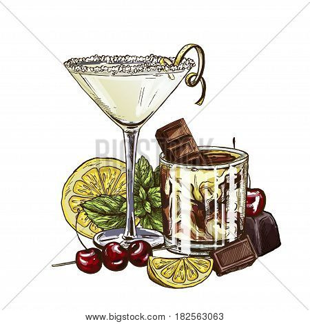 Lemon drop martini and White Russian cocktails, vector illustration, hand drawn sketch; colored