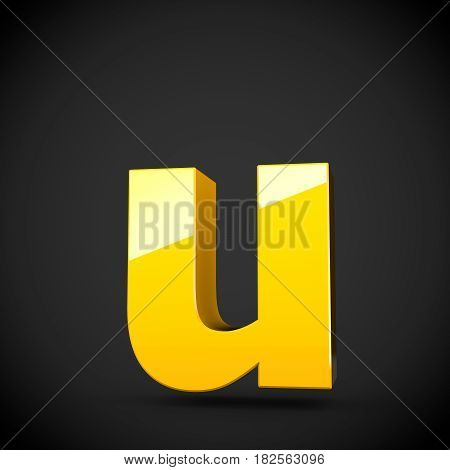 Glossy Yellow Paint Letter U Lowercase With Softbox Reflection