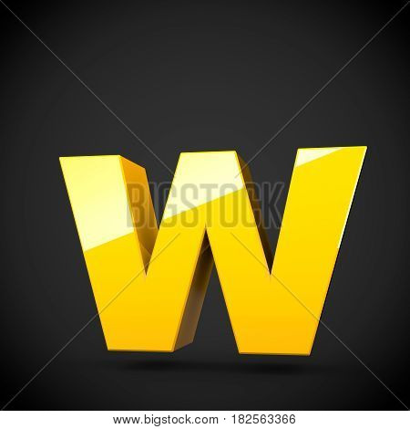 Glossy Yellow Paint Letter W Lowercase With Softbox Reflection