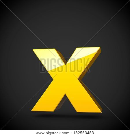 Glossy Yellow Paint Letter X Lowercase With Softbox Reflection