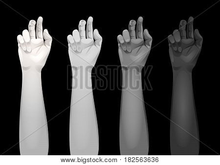 Realistic women arms with different hands colors isolated on black background. Vector template for tattoo design