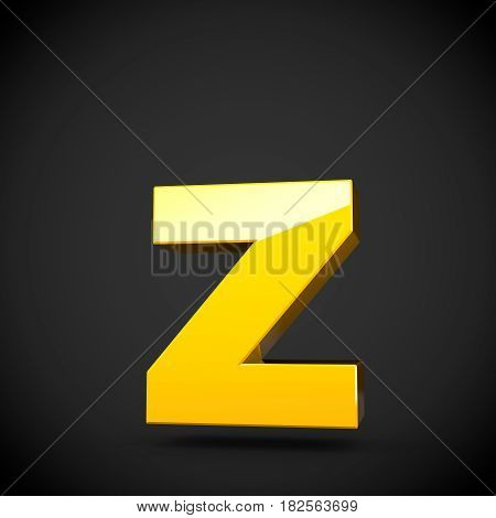 Glossy Yellow Paint Letter Z Lowercase With Softbox Reflection