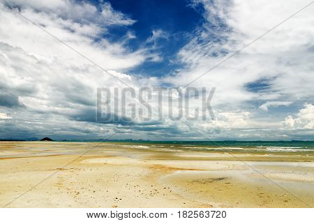 Beautiful Sky And Beach At Low Tide
