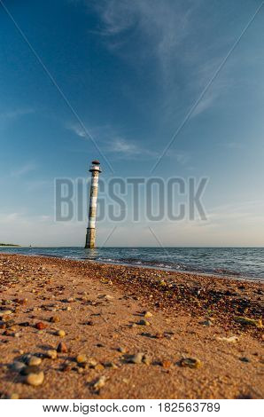 Skew lighthouse in the Baltic sea. Vilsandi National park Saaremaa Estonia