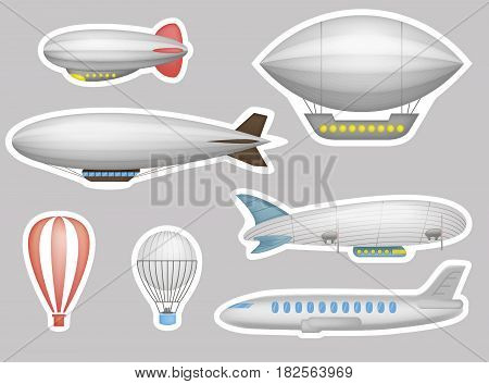 Stickers of cartoon balloons, airships and airplanes. Kids patches, stickers, badges or pins design kit. Vector illustration.