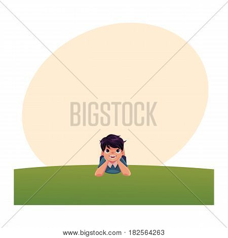 Teenage Caucasian boy with black hair and big eyes lying on green grass under summer sky, colorful cartoon vector with space for text. Boy, kid, child lying on the grass, summer vacation concept