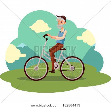 Old, elder bearded man in vest and hat riding a bicycle, cycling, cartoon vector illustration. Full length, side view portrait of retired man riding a bicycle, cycling in countryside,