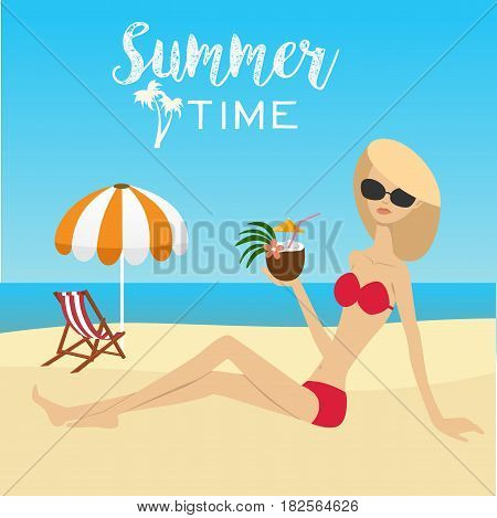 Fashion woman sitting on the beach with coconut cocktail over deck chair with umbrella