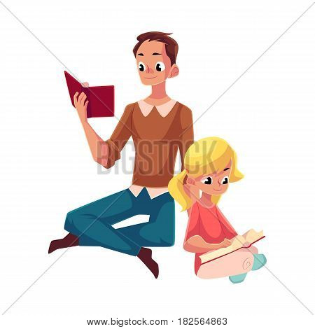 Young man and little girl reading books sitting legs crossed on the floor, cartoon vector illustration isolated on white background. Man and girl, father and daugther reading thick books, sitting