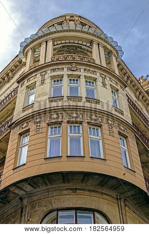 Stone facade on classical building with ornaments and sculptures. Belgrade Serbia.