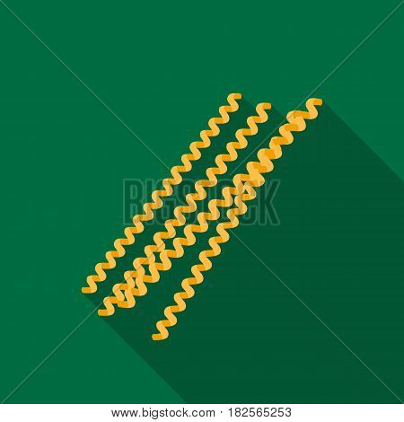 Fusilli bucati pasta icon in flate style isolated on white background. Types of pasta symbol vector illustration.