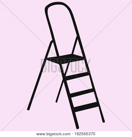 Metallic Step Ladder vector silhouette isolated on background