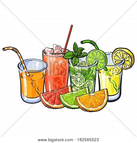 Orange, grapefruit, lime, lemon juice and fruits, hand drawn sketch vector illustration on white background. Hand drawing of orange, grapefruit, lemon, lime juice in glasses and fruits cut