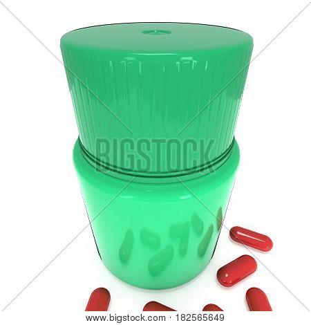 Green plastic bottle of pills. 3D render illustration isolated on white background. Medical drug pharmacy care and tablet pills antibiotic pharmaceutical