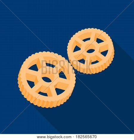 Rotelle pasta icon in flate style isolated on white background. Types of pasta symbol vector illustration.