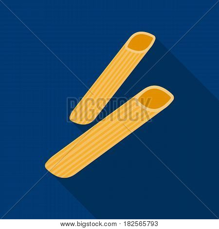Penne rigate pasta icon in flate style isolated on white background. Types of pasta symbol vector illustration.