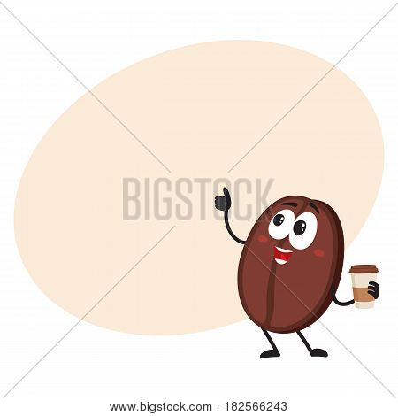 Funny coffee bean character with human face with paper cup showing thumb up, cartoon vector illustration with space for text. Coffee bean character, mascot drinking coffee from paper cup
