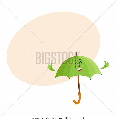 Cute and funny open green umbrella character with smiling human face giving thumb up, cartoon vector illustration with space for text. Open umbrella, parasol character, mascot, design element