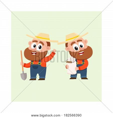 Two funny farmer, gardener characters in straw hat and overalls, one holding shovel another with milk can, cartoon vector illustration isolated on white background. Couple of comic farmer characters