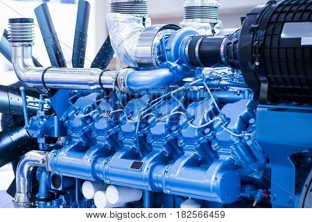 Diesel engine for boat. Blue color. Good for a design