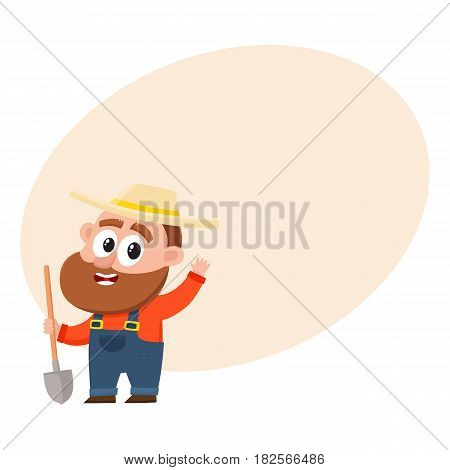 Funny farmer, gardener character in straw hat and overalls holding shovel, waving hello, greeting, cartoon vector illustration with space for text. Comic farmer character, design elements