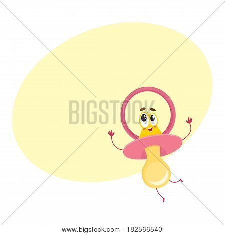 Cute and funny baby dummy, pacifier character with human face, excited expression, cartoon vector illustration with space for text.