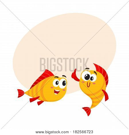 Two funny, smiling golden fish characters, one showing thumb up, another looking with interest, cartoon vector illustration with space for text. Smiling yellow fish characters, mascots