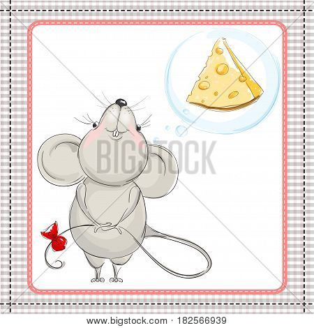 Little mouse dreams about a big piece of cheese