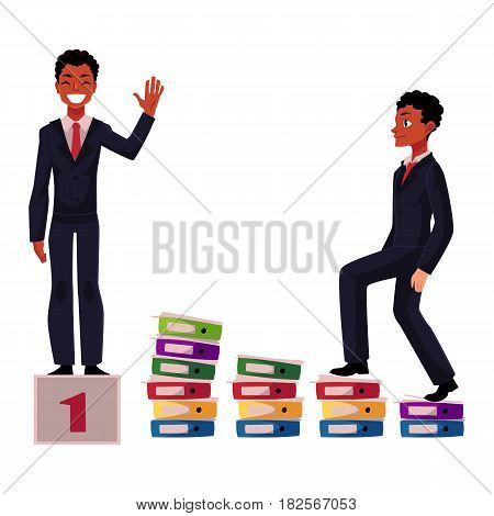 Black, African American businessman, manager going up career ladder and standing on winner pedestal, cartoon vector illustration isolated on white background. Black businessman, achieving success