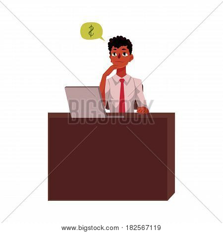 Black, African American businessman, manager, financial analyst at office desk, cartoon vector illustration isolated on white background. Black businessman, worker, employee working in office