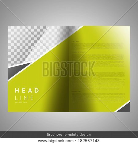Corporate bi-fold brochure template design. Annual report, presentation, book cover or flyer. Stock vector.
