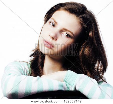 Real Teenage Girl with problems Looking Worried isolated on white background, depression sad look