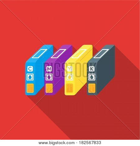 Ink cartridges in flate style isolated on white background. Typography symbol vector illustration.