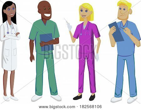 Medicine set with doctor, nurse, intern and surgeon of different nationalities.. Medical staff.