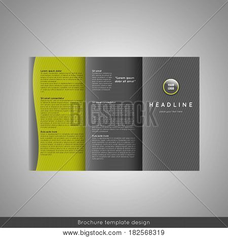 Trifold business brochure template design with world map infographic element. Stock vector.