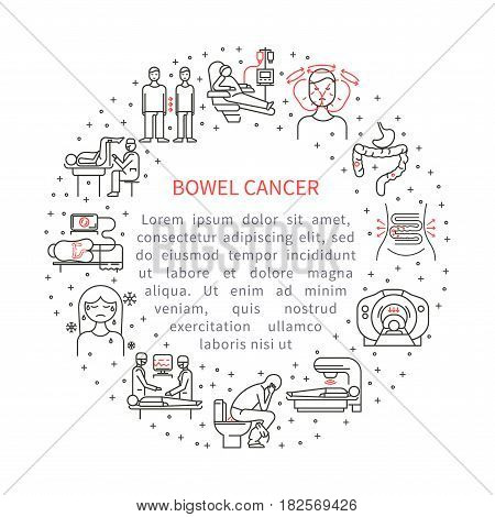 Bowel cancer vector illustration. The concept of health and medical services