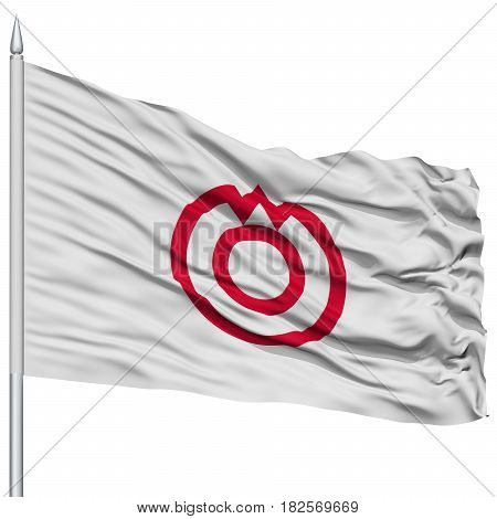 Yamaguchi Capital City Flag on Flagpole, Prefecture of Japan, Isolated on White Background