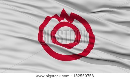 Closeup of Yamaguchi Flag, Capital of Japan Prefecture, Waving in the Wind, High Resolution