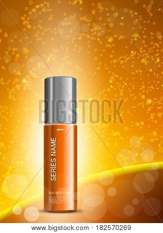 Skin moisturizer cosmetic ads template with orange realistic package on wavy bright lines blurred background. Vector illustration