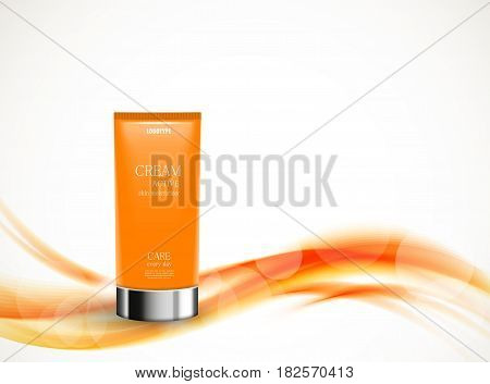 Skin moisturizer cosmetic design template with orange realistic package on soft bright wavy dynamic lines background. Vector illustration