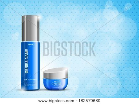 Bright beauty cosmetic design template with blue realistic packages on light grid dotted background. Vector illustration