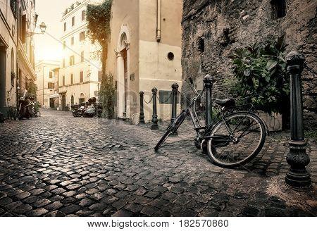 Bike on the street of Trastevere in Rome, Italy