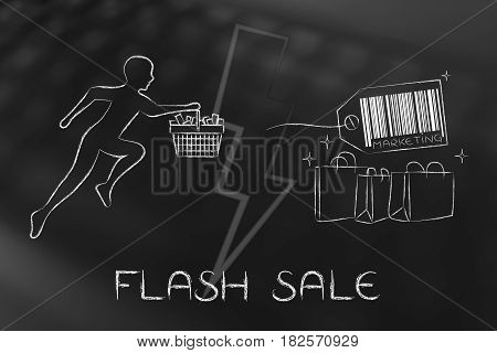 Customer Running With Shopping Basket & Bags With Price Tag