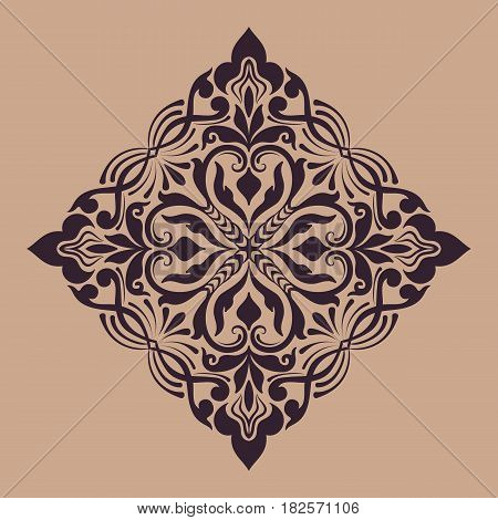 Vector abstract arabesque elements in indian mehndi style. Abstract arabesque floral vector illustration. Design element.