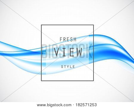 Abstract smooth art design background with blue soft waves in dynamic fresh style. Vector illustration