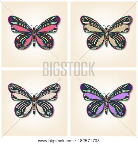 Set of vector butterflies. Elegant insects. Entomological collection of detailed hand drawn butterflies.