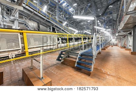 Giant industrial conveyor for chemicals and Ammonium nitrate at a chemical plant