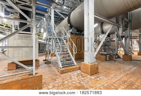 Stair next to the cooling drum mold at the plant for the production of ammonium nitrate