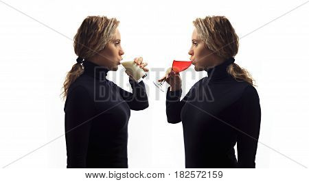 Part of series. Self talk concept. Portrait of young woman talking to herself in mirror drinking milk or wine in glass. Double portrait